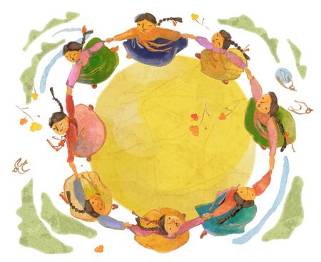 Traditionele Koreaanse Lifestyle Illustratie