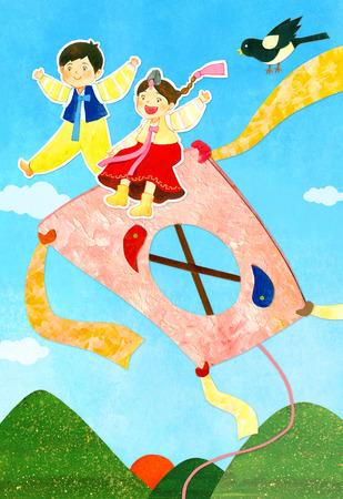 hanbok: Teenage Lifestyle Illustration Stock Photo