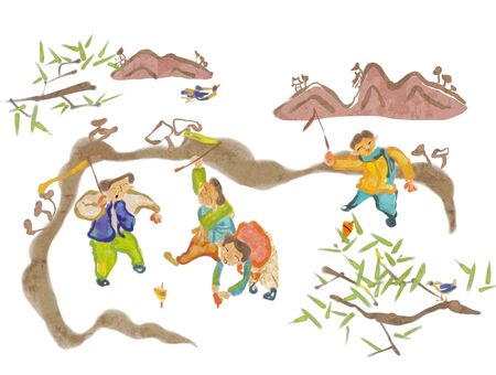hanbok: Traditional Korean Lifestyle Illustration