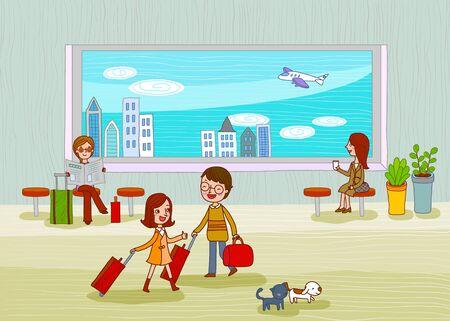 aircraft carrier: Tourism Illustration