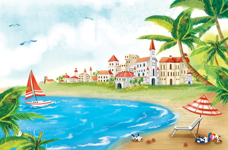 Sceneries Of A Countryside Illustration