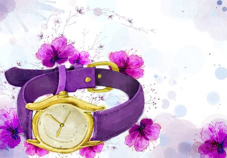 Abstract Flowers Background, Watch Illustration