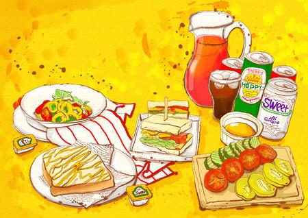 sandwich board: Food Illustration
