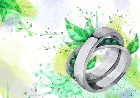 Abstract Flowers Background, Ring Illustration