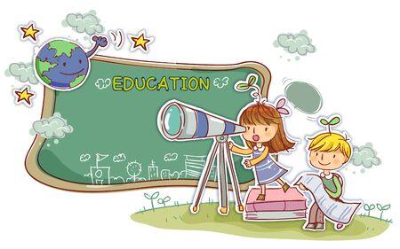 school life: Education, School Life Illustration