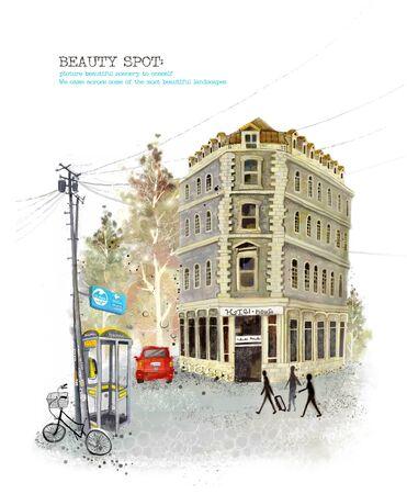 telephone pole: Beauty Spot, Traveling Illustration Stock Photo