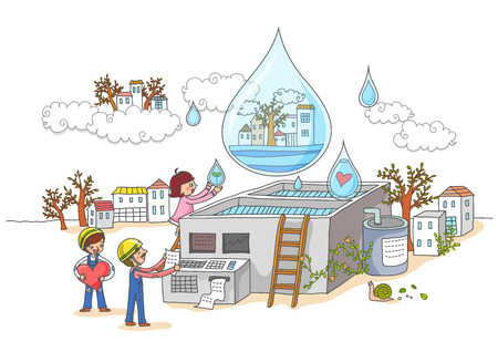 waterworks: Environmental Protection, Renewable Energy Illustration Stock Photo