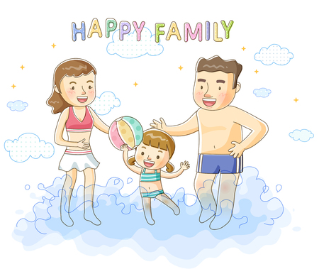 enfant maillot de bain: Family Life Illustration Banque d'images