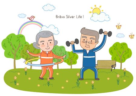 hula hoop: Middle-Aged Couples Life Illustration