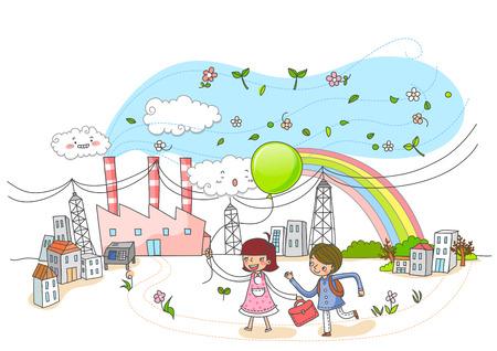Environmental Protection, Renewable Energy Illustration Stock Photo