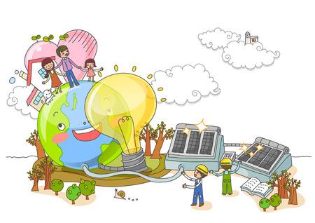 Umweltschutz, Erneuerbare-Energien-Illustration