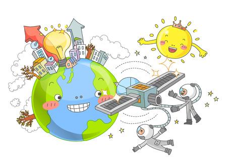 environmental suit: Environmental Protection, Renewable Energy Illustration Stock Photo