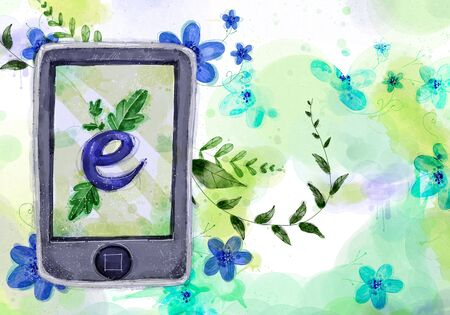 cellphone: Abstract Flowers Background, Cellphone Illustration Stock Photo