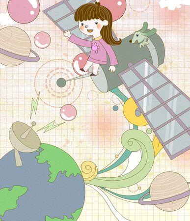 과학 탐험 일러스트 레이션의 클래스 스톡 콘텐츠