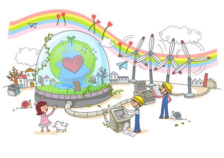 Umweltschutz, Erneuerbare-Energien-Illustration Standard-Bild