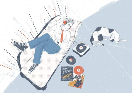 lie down: Lifestyle Illustration