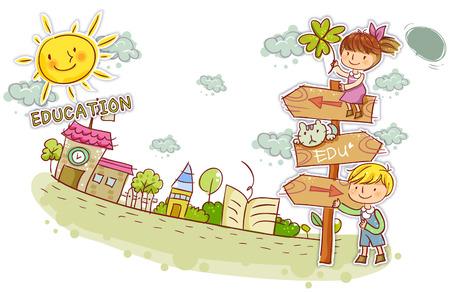 convivencia escolar: Education, School Life Illustration