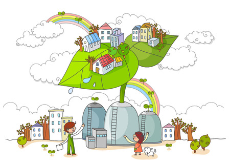 child protection: Environmental Protection, Renewable Energy Illustration Stock Photo
