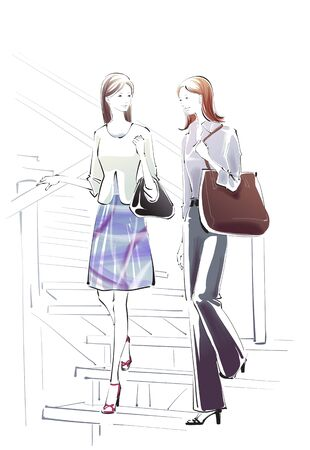 and two friends: A Young Womans Life Illustration