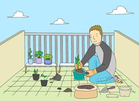 veranda: A Single Mans Life Illustration Stock Photo