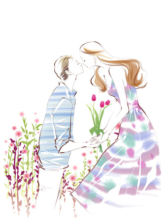 romantic woman: A Young Womans Life Illustration