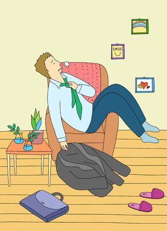 weariness: A Single Mans Life Illustration Stock Photo