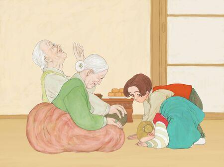 bowing: Family Life Illustration Stock Photo
