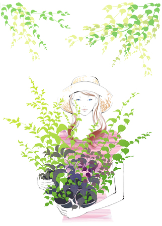 plant stand: A Young Womans Life Illustration