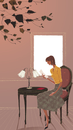 writing pad: A Young Womans Life Illustration
