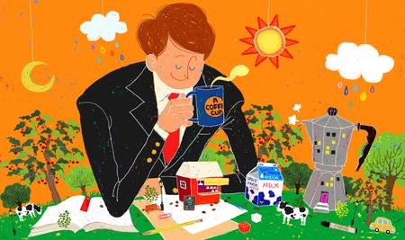 Young Imaginative Businessman Illustration Stock Photo
