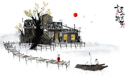 Traditionele Koreaanse Landschap Illustratie Stockfoto