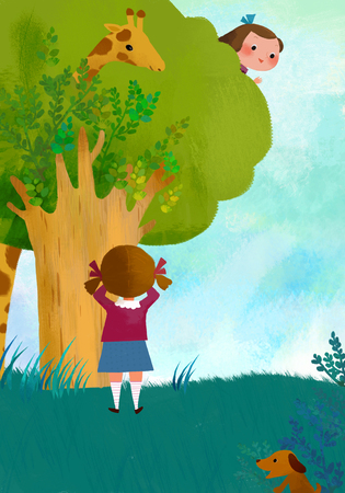hide and seek: Childrens World Illustration