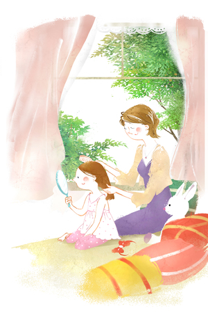 look in mirror: Family Life Illustration Stock Photo