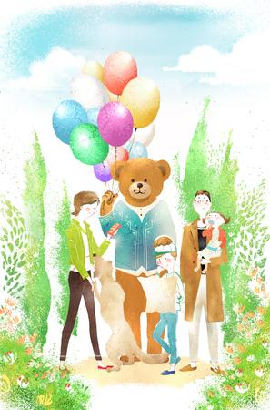 family park: Family Life Illustration Stock Photo