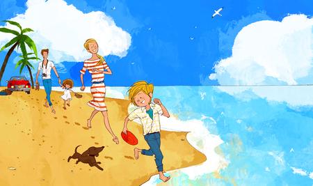 discus: Family Fun Time Illustration