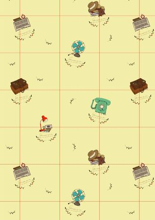 clock radio: Gift Wrapping Paper Design Illustration