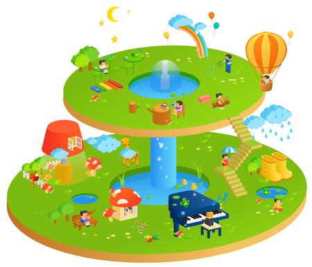 Miniature Block Land Illustration Stock Photo