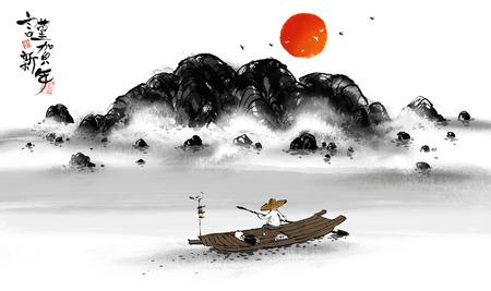 伝統的な韓国の風景イラスト