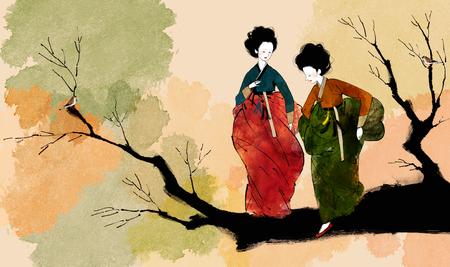 Traditional Korean Women Illustration Stock Photo