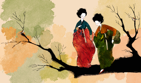 traditonal: Traditional Korean Women Illustration Stock Photo
