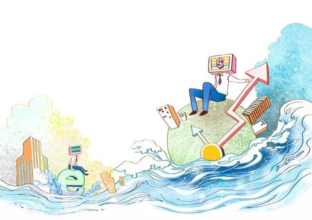 Imaginative Business World Illustration Stock Photo