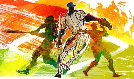 Baseball Action Illustration