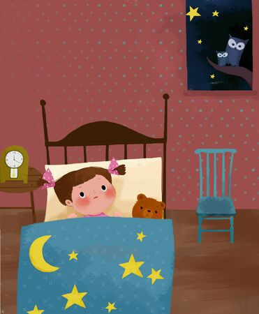 woman lying in bed: Childrens World Illustration
