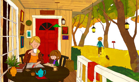 lawn chair: Family Fun Time Illustration