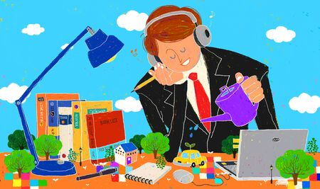Young Imaginative Businessman Illustration Stock Photo