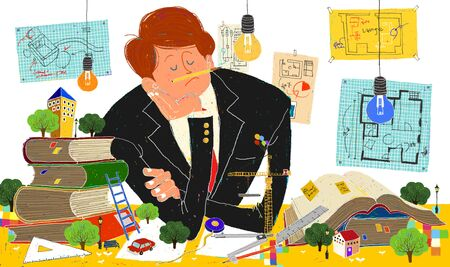 worrying: Young Imaginative Businessman Illustration Stock Photo