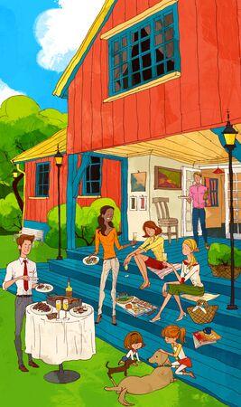 Familie Fun Time Illustration Standard-Bild