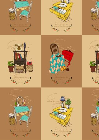 plant stand: Gift Wrapping Paper Design Illustration