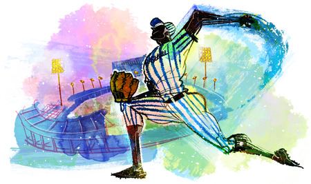 pitching: Baseball Action Illustration
