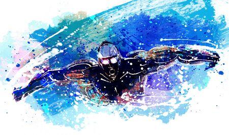 swim cap: Athletics Illustration Stock Photo